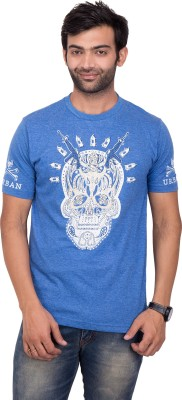YOUTH & STYLE Printed Men's Round Neck Blue T-Shirt