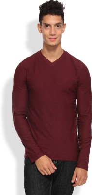 Arise Solid Men's V-neck Maroon T-Shirt