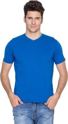 Fort Collins Solid Men's V-neck Blue T-Shirt