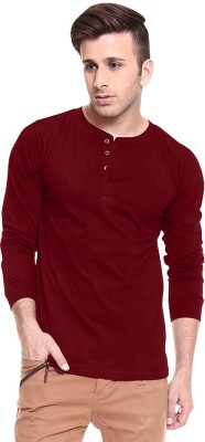 Softwear Solid Men's Henley Maroon T-Shirt