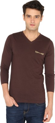Chromozome Solid Men's V-neck Brown T-Shirt