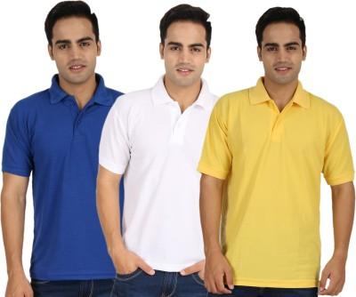 Larwa Solid Men's Polo Neck Yellow, White, Blue T-Shirt