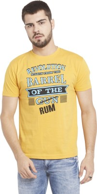 Globus Printed Men,s Round Neck Yellow T-Shirt