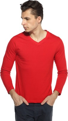 Pepperclub Solid Men's V-neck Red T-Shirt