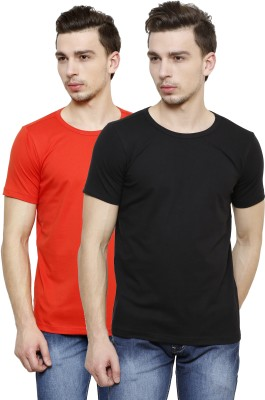 Casual Tees Solid Men's Round Neck Black, Red T-Shirt