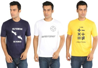 CRESCENT Printed Men's Round Neck Multicolor T-Shirt