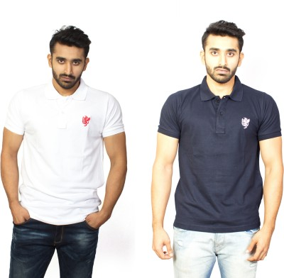 1OhOne Solid Men,s Polo White, Blue T-Shirt