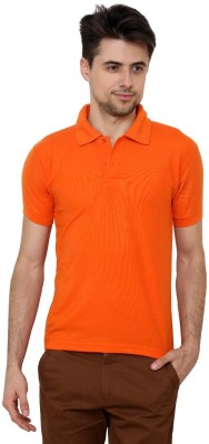 Grand Bear Solid Men's Polo Neck Orange T-Shirt