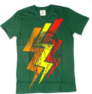 Burnout Printed Men's V-neck Green T-Shirt