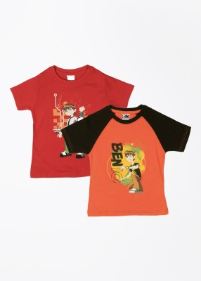 Cherish Printed Boy,s Round Neck Orange, Red T-Shirt