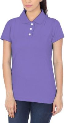 POLUO Solid Women's Polo Purple T-Shirt