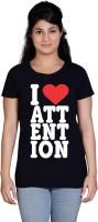 Tantra Women's Clothing - Tantra Printed Women's Round Neck Black T-Shirt