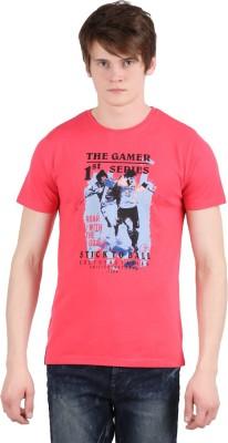 Moonwalker Printed Men's Round Neck Red T-Shirt