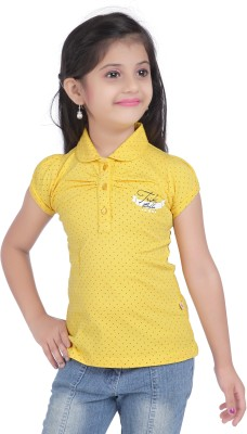 Triki Polka Print Baby Girl's Flap Collar Neck Yellow T-Shirt