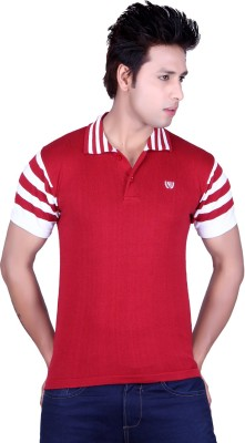 Dezyn Solid Men's Polo Neck Red, White T-Shirt