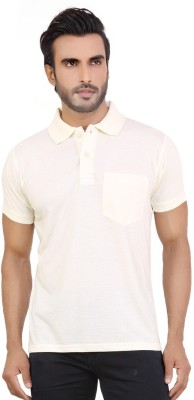 Awack Solid Men's Polo Neck White T-Shirt