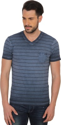 Being Human Clothing Striped Men's V-neck Blue T-Shirt