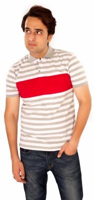 Maggivox Striped Men's Polo White, Red T-Shirt