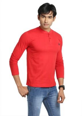 John Caballo Solid Men's Henley Red T-Shirt