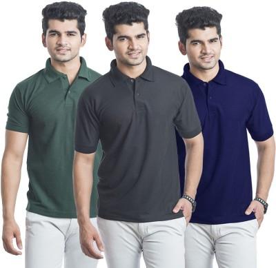 Bainsons Solid Men,s Polo Black, Green, Blue T-Shirt