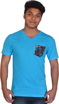 styzon Graphic Print Boy's V-neck Blue T-Shirt