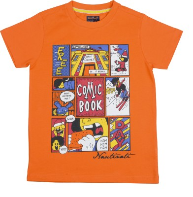 Nauti Nati Printed Boy's Round Neck Orange T-Shirt