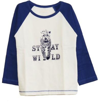 My Little Lambs Solid Baby Boy's Round Neck Dark Blue T-Shirt
