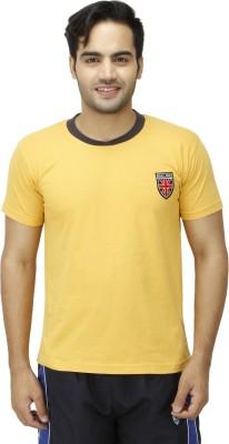 1OAK Solid Men's Round Neck Yellow T-Shirt