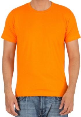 neuf Solid Men's Round Neck Orange T-Shirt