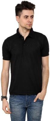 Grand Bear Solid Men's Polo Neck Black T-Shirt