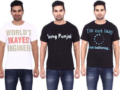 Pagal Desi Printed Men's Round Neck Multicolor T-Shirt