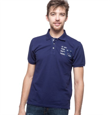 American Swan Solid Men's Polo Neck Blue T-Shirt