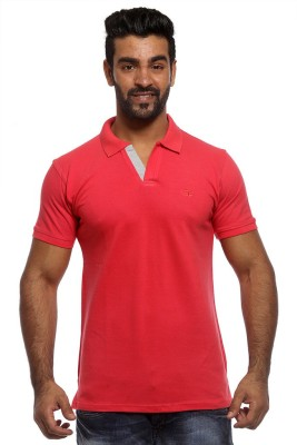 Sports 52 Wear Solid Men's Polo Neck Pink T-Shirt