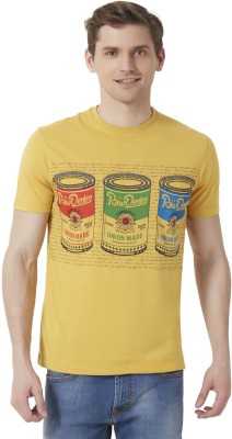 Peter England Printed Men's Round Neck Yellow T-Shirt
