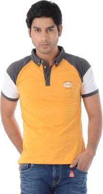 Lawman Solid Men's Polo Neck Orange T-Shirt