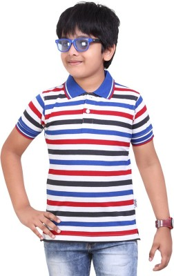 Dongli Striped Baby Boy's Polo Neck Dark Blue T-Shirt