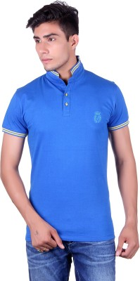All Ruggby Solid Men's Polo Neck Blue T-Shirt