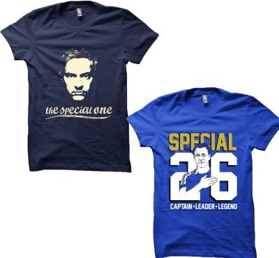 EETEE Printed Men's Round Neck Blue, Dark Blue T-Shirt