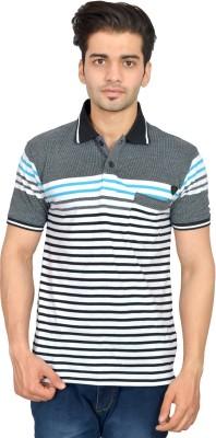 Urban Trail Striped Men's Polo Neck Light Blue T-Shirt