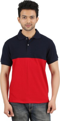 MA Solid Men's Polo Neck Red, Black T-Shirt