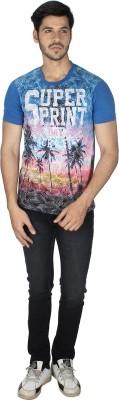 Grapes Plus Printed Men's Round Neck Blue T-Shirt