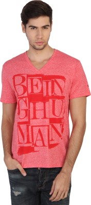 Being Human Printed Men's V-neck Red T-Shirt