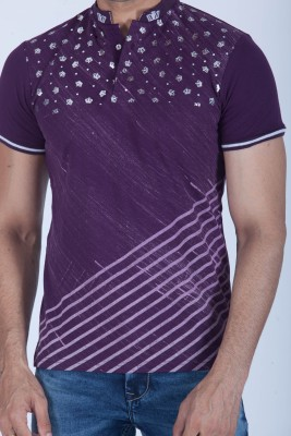 Lawman Printed Men's Round Neck Purple T-Shirt