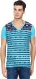 Hi Lite Printed Men's V-neck Light Blue ...