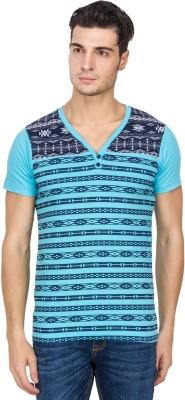Hi Lite Printed Men's V-neck Light Blue T-Shirt