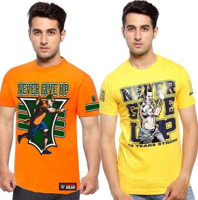 WWE Printed Men's Round Neck Orange, Yellow T-Shirt