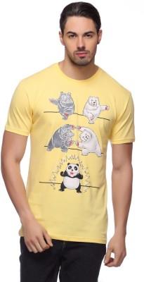 LLO Fashions Printed Men,s Round Neck Yellow T-Shirt