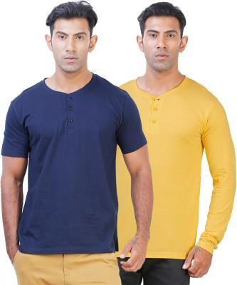 Click Hit Solid Men's Henley Blue, Yellow T-Shirt