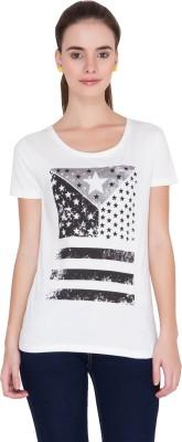 Alibi Printed Women's Round Neck White T-Shirt