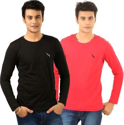 BrownBird Solid Men's Round Neck Black, Red T-Shirt